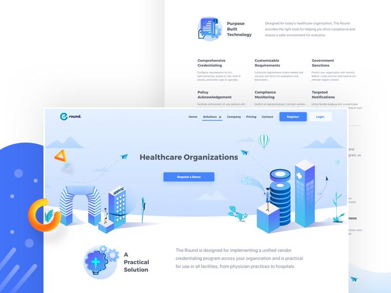 Healthcare Organisation device building web design user interface ux ui illustration icons case study isometric hospital health