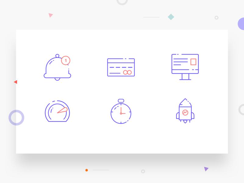 Icon set icon artwork illustration line art rocket clock timer dashboard computer credit card notification icon