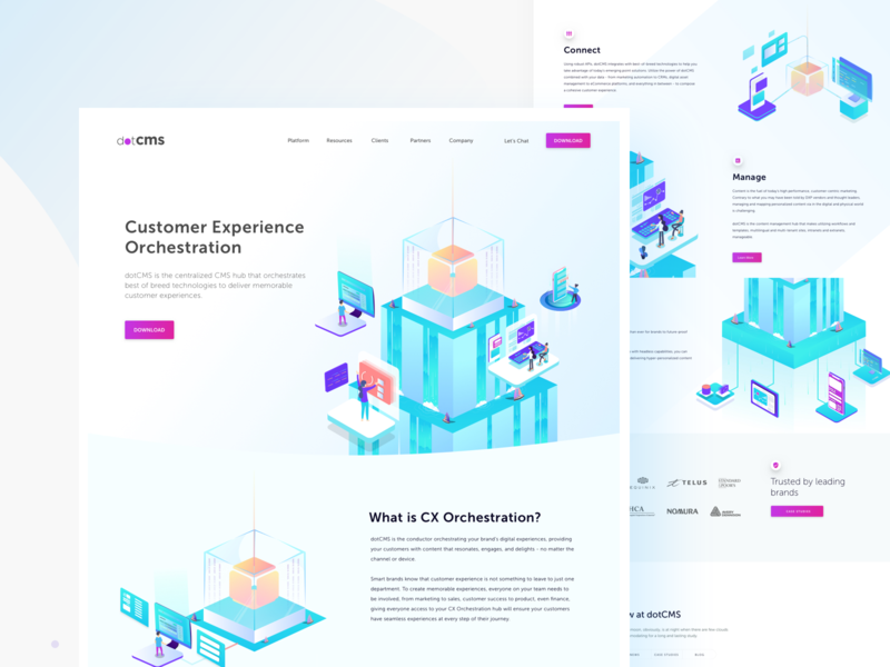 dotCMS Home Page vector data device isometric website illustration app userinterface ux ui code customer