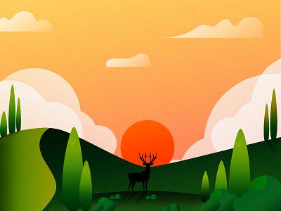 Dear (Day 9/365) illustrator cloud tree illustration landscape sun sunrise forest dear