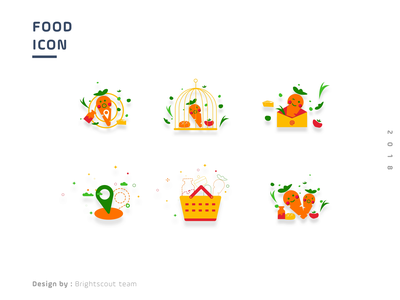 Icons vector food app shop location map basket carrot illuatration food and drink color icon food