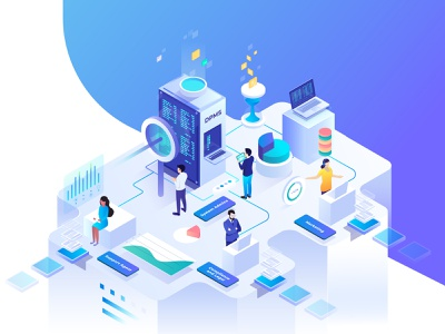 automated data protection user admin support marketing system server security illustration isometric protection data automation