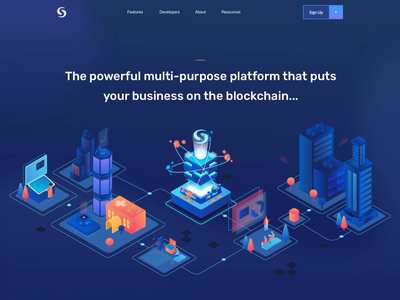 Syscoin hero animation website ae bitcoins buildings app web isometric color light city illustration uiux uidesign ux ui