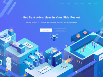 Hero concept budget drone social idea advertise advertisement illustration animation isometric website uiux ux ui