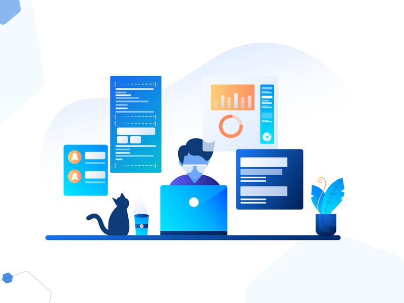 Enhanced Scripting Capabilities design vector plant dashboard display cat work automation code coding script illustration