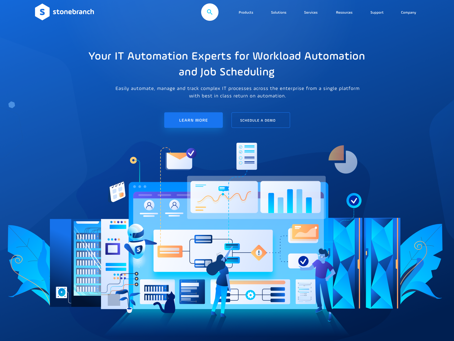 Dynamic It Automation dashboard graph automation design illustrator website app web user inteface laptop server illuatration uiux ux ui