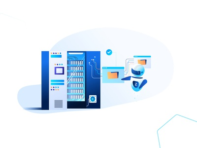 Protocol Communications vector illustration automation datacenter server file transfer file bot communication data