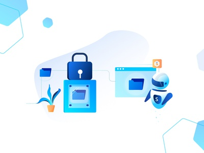 Secure File Transfers design vector file management adobe illustrator automation lock bot illustration security data transfer file