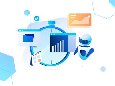High Performance clock time illustration data calander folder performance graph chart ui dashboard bot