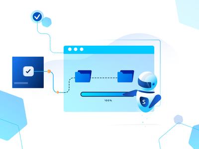 Transfer Protocol design vector illustration file sharing automation bot protocol file transfer file management file