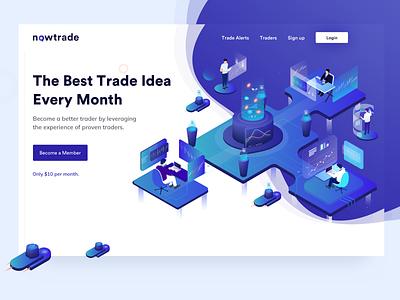 Nowtrade crypto trade graph website design isometric illustration isometric design illustrator website user interface color app web isometric vector illustration uxdesign ui design ux ui