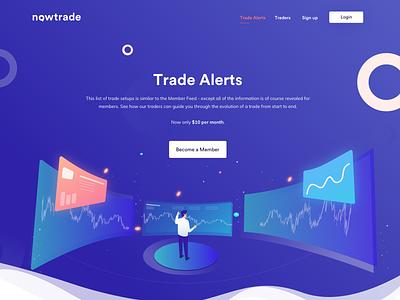 Trade alerts money space app website user interface vector illustrations web website design adobe illustrator graph trade uiux ux ui icon illustration
