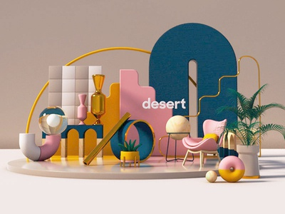 the Desert x Forms & Shapes motion art cinema4d c4d octane 3dart 3d