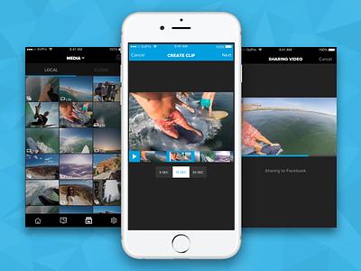 GoPro Capture App -> Trim + Share social media sharing video editing media video software dark ui dark gopro ux ui