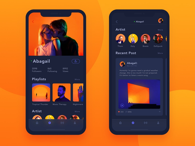 Orange Storm:Music App Friend's Profile-Night Mode x ui,iphone profile orange music ios color card app