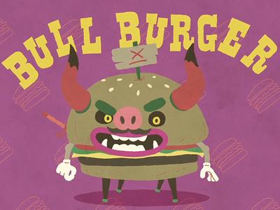 Spanish Onion -  Bull Burger burger animation illustration design character