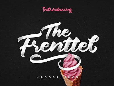 The Frenttel Font bold script typography swashes stylish signature script lettering handwritten cursive label brush branding