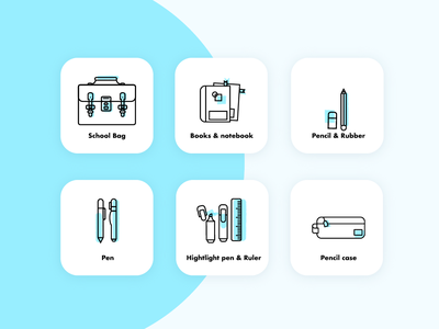 What's in students bag? line illutration icon