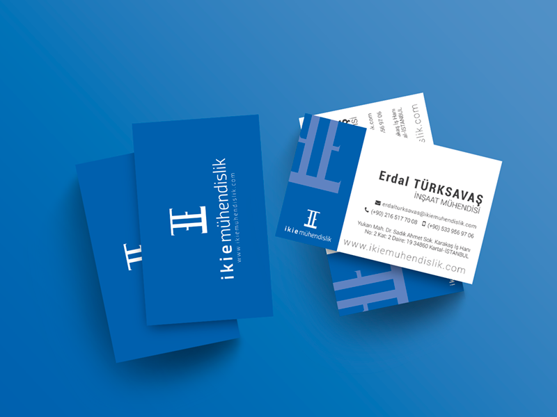 Business Card Design for ikie Mühendislik blue susam creative construction logo branding client work design business card