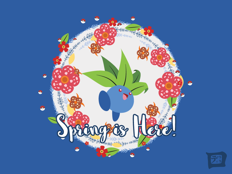 A Pokemon Spring: Oddish green nature blue blossom pokemon go oddish illustration leaves flowers pokeball spring pokemon