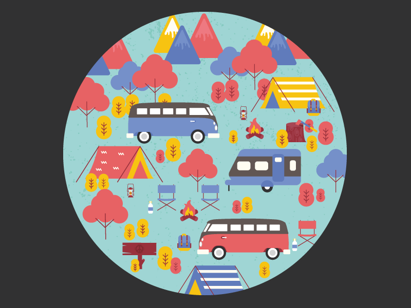Autumn Camp: Spare Tire Cover Design for VW Bus susam creative client work design illustration vector art beetle day campfire autumn camping volkswagen van volkswagen bus world wide vw beetle day