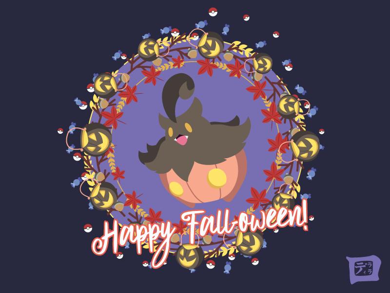 A Pokemon Fall-oween: Pumpkaboo autumn pokemon pokemon go pumpkin leaf acorn pokeball wallpaper orange illustration fall halloween