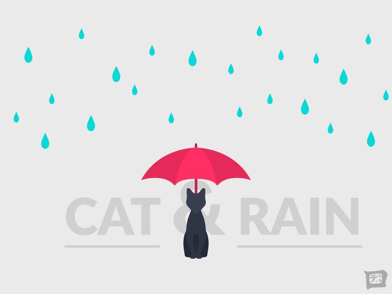 Cat & Rain - Wallpaper november rain drop minimal simplistic wallpaper illustration umbrella rain cat