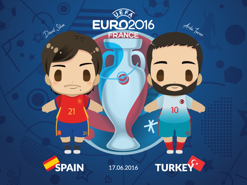 Euro 2016 Mascot Chibis: Spain vs Turkey poster europe cup uefa france vector fifa soccer cute chibi football illustration