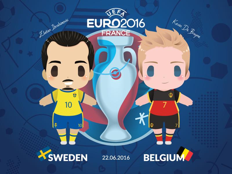 Euro 2016 Mascot Chibis: Sweden vs Belgium illustration football chibi cute soccer fifa vector france uefa cup europe poster