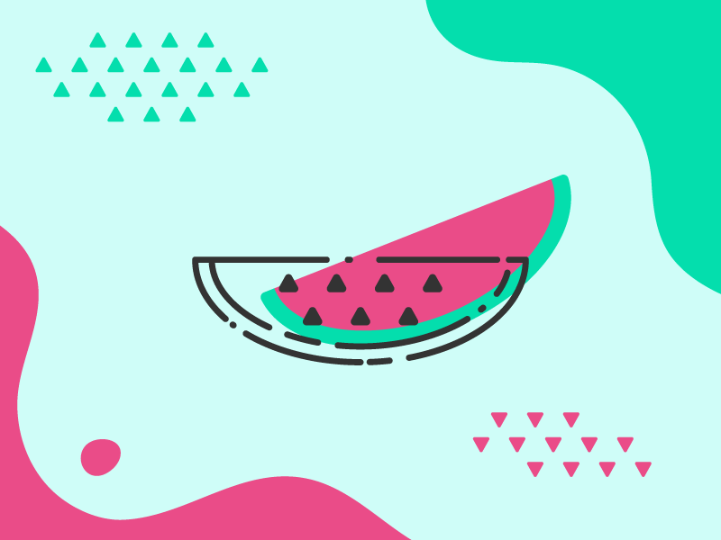 Limitless Summer: Watermelon - Memphis Style Wallpaper fruit abstract 80s vibrant colors line art memphis summer vector minimal watermelon wallpaper illustration