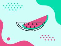 Limitless Summer: Watermelon - Memphis Style Wallpaper
