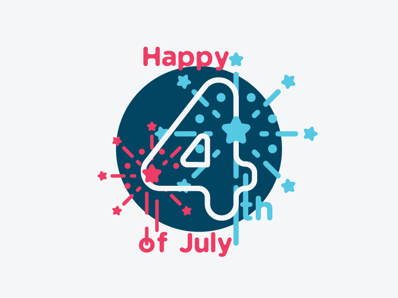 Happy 4th of July vector art type fireworks 4th of july independence united states celebration usa flag america illustration minimal