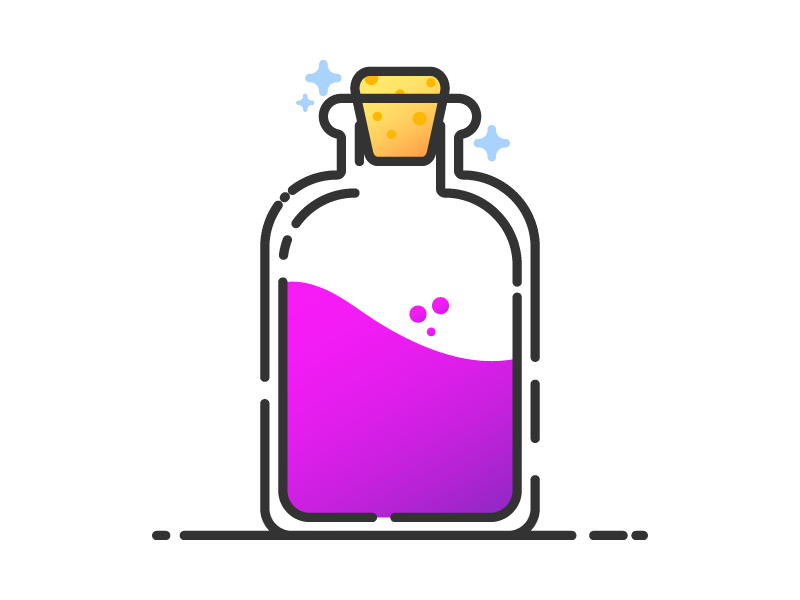 Vial of Unknown vector art game nerd geek illustration d20 dnd dungeons and dragons magic potion gradient minimal