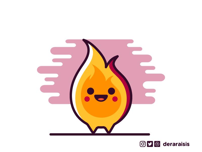 Cutie DnD 1e Elementals: Fire Elemental flame fire elemental cute minimal dungeons and dragons dnd d20 illustration geek nerd game vector art