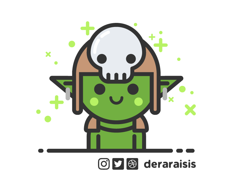DnD Avatar: Goblin vector art game nerd geek illustration flat avatar dnd dungeons and dragons goblin cute minimal