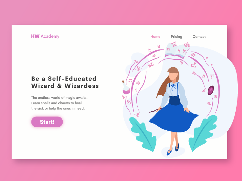 HW Academy Landing Page Illustration magic wizard flat character dungeons and dragons dnd web page vector art ui landing page illustration home