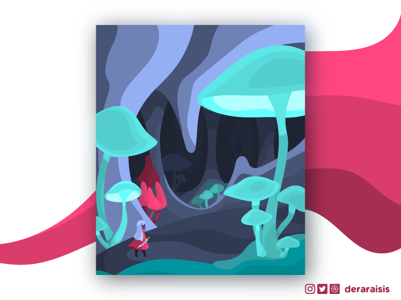 Underdark Adventure - A DnD Themed Poster Illustration fantasy illustration elf mushroom vector art adventure dnd dungeons and dragons character flat drow cave