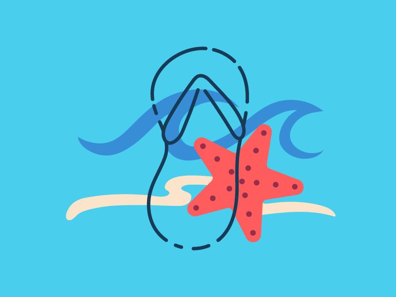 Limitless Summer: Beachside star sea wave illustration wallpaper minimal vector summer flat line art vacation ocean beach