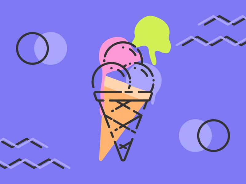 Limitless Summer: Ice Cream minimal line art vibrant colors ice cream cone ice cream vector art vector summer 80s abstract memphis wallpaper illustration