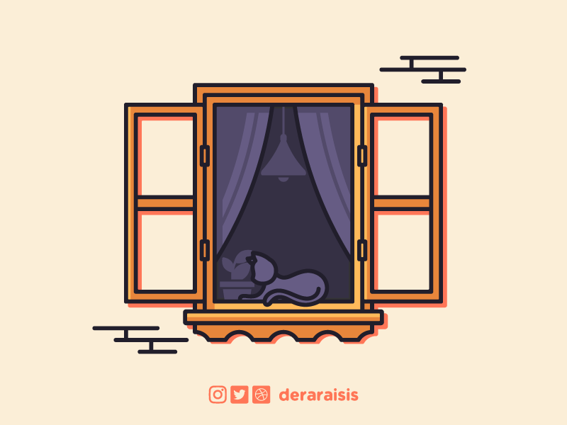 Cat Sunbathing On Window - Wallpaper house istanbul vintage sunbathing sunny purple orange wallpaper design wood window cat design wallpaper vector minimal vector art illustration