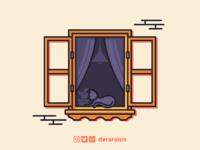Cat Sunbathing On Window - Wallpaper