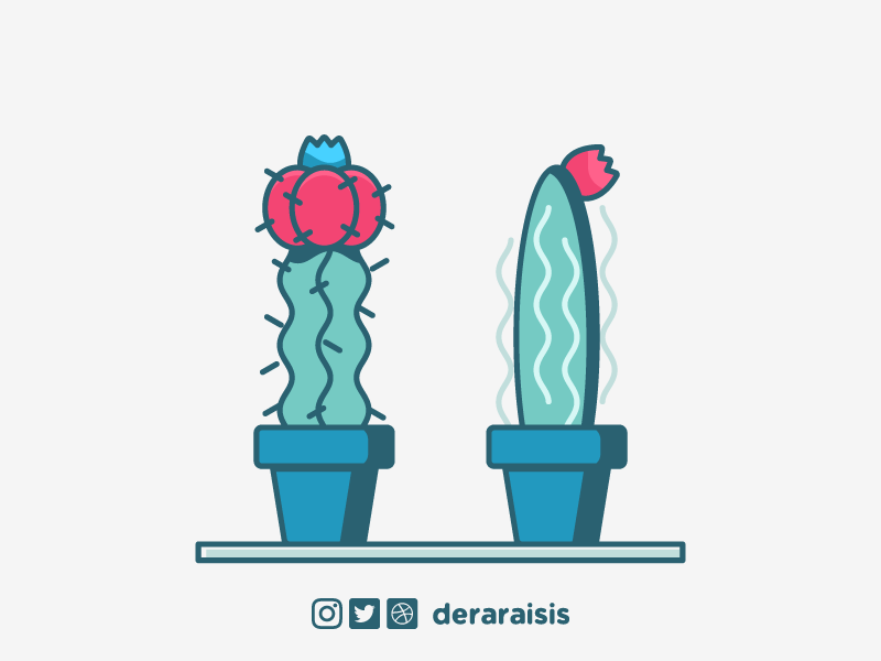2 Lonely Cacti depressed lonely thorn succulents succulent potted plant flower green red blue plant cacti cactus wallpaper design design wallpaper vector minimal vector art illustration