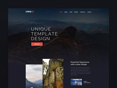 Uniq X  homepage website flat clean theme web ux ui