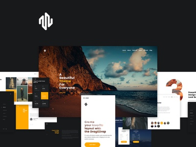 Modero theme design layout website clean ui web one page