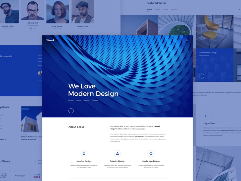 Seoul architectural architect theme ui design onepage website web