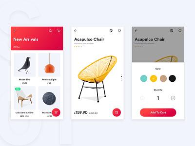 Shop App commerce yellow red interaction mobile design cart ux ui shop app