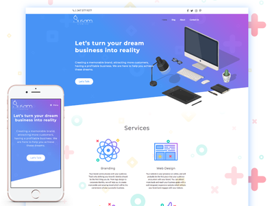 Susam Creative - Website Homepage responsive iconography colorful gradient creative agency design studio landing page ux ui cat web design website