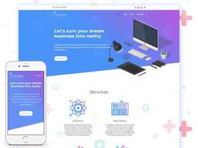 Susam Creative - Website Homepage responsive iconography colorful gradient creative agency design studio landing page ux ui cat web design website
