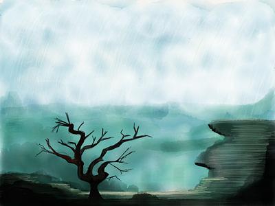 Rainy landscape landscape rain ipad fiftythree paper