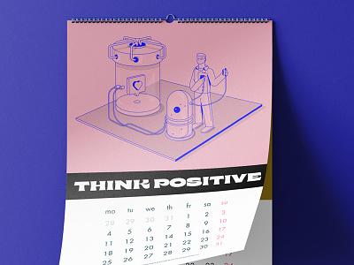 Think Positive Calendar vector icons app illustration design ui pink calendar characterdesign isometric 3d 2d design app illustraion